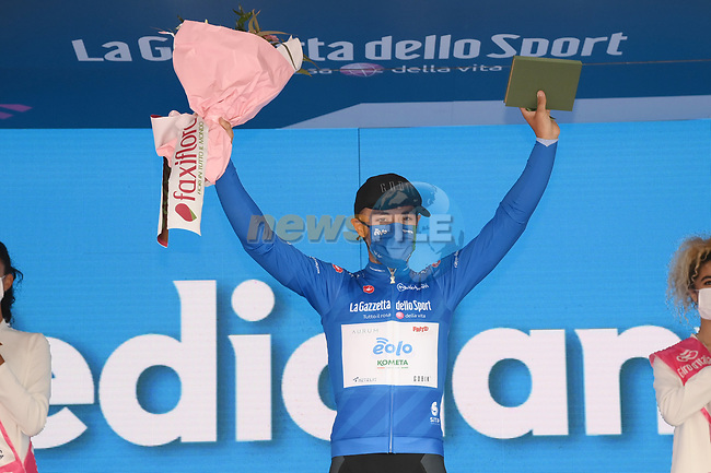 Vincenzo Albanese (ITA) Eolo-Kometa Cycling Team retains the mountains Maglia Azzurra at the end of Stage 3 of the 2021 Giro d'Italia, running 190km from Biella to Canale, Italy. 10th May 2021.<br /> Picture: LaPresse/Gian Mattia D'Alberto | Cyclefile<br /> <br /> All photos usage must carry mandatory copyright credit (© Cyclefile | LaPresse/Gian Mattia D'Alberto)