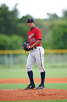 GCL Twins starting pitcher Carlos Suniaga (62) gets ready to deliver a pitch during the second game of a doubleheader against the GCL Rays on July 18, 2017 at Charlotte Sports Park in Port Charlotte, Florida.  GCL Twins defeated the GCL Rays 4-2 after the game was postponed in the second inning to the following day at Charlotte Sports Park in Port Charlotte, Florida.  (Mike Janes/Four Seam Images)