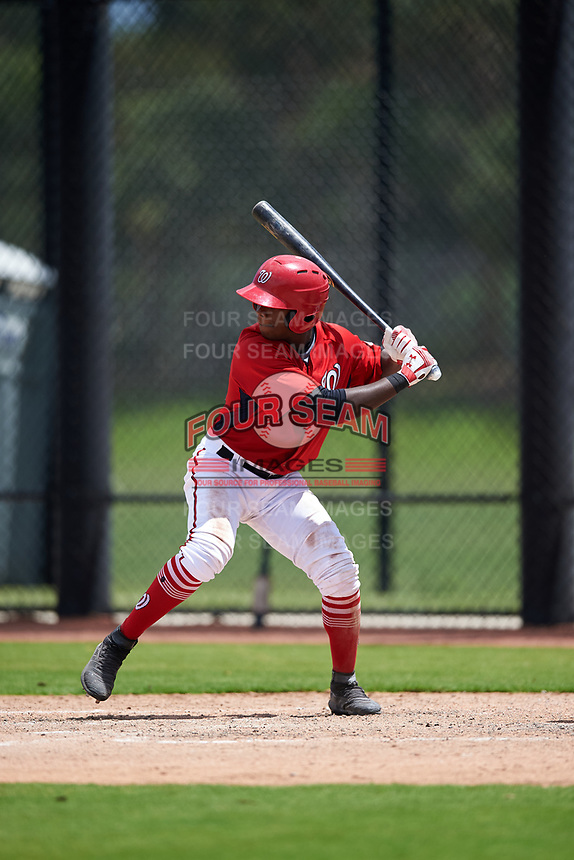 GCL Nationals Jeremy De La Rosa (22) at bat during a Gulf Coast League game against the GCL Astros on August 9, 2019 at FITTEAM Ballpark of the Palm Beaches training complex in Palm Beach, Florida.  GCL Nationals defeated the GCL Astros 8-2.  (Mike Janes/Four Seam Images)