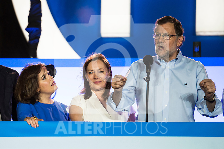 Mariano Rajoy during the celebration of the victory of the Spanish Elections at the headquarter of Partido Popular in Madrid. June 26, 2016. (ALTERPHOTOS/BorjaB.Hojas)