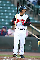 Rochester Red Wings shortstop Ray Chang #8 at bat during a game against the Gwinnett Braves at Frontier Field on May 5, 2011 in Rochester, New York.  Rochester defeated Gwinnett by the score of 3-2.  Photo By Mike Janes/Four Seam Images