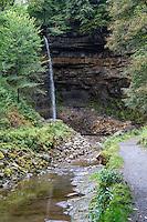 UK, England, Yorkshire.  Hardraw Force, in Hardraw  Scar, longest single-drop waterfall in England.