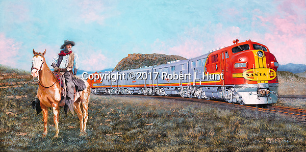 Santa Fe Railroad train crossing the high desert passes by a mounted cowboy. Oil on Canvas 16x32.