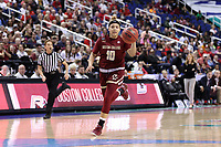 GREENSBORO, NC - MARCH 07: Makayla Dickens #10 of Boston College races up the court with the ball during a game between Boston College and NC State at Greensboro Coliseum on March 07, 2020 in Greensboro, North Carolina.