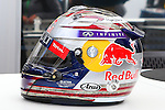 Sebastian Vettel's helmet set's out for fans to admire before the Formula 1 United States Grand Prix practice session at the Circuit of the Americas race track in Austin,Texas.
