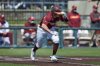 Cade Swisher (11) of the Virginia Tech Hokies starts down the first base line against the Boston College Eagles at English Field on April 3, 2021 in Blacksburg, Virginia. (Brian Westerholt/Four Seam Images)