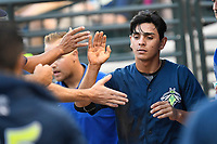 Shortstop Andres Gimenez (13) of the Columbia Fireflies is congratulated after scoring a run in a game against the Charleston RiverDogs on Monday, August 7, 2017, at Spirit Communications Park in Columbia, South Carolina. Columbia won, 6-4. (Tom Priddy/Four Seam Images)