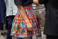 Milan,Italy - 19th june 2021 - Dolce & Gabbana fashion show for Milano fashion week Men's collection 18-22 june 2021 - close up colorful skirt
