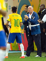 Neymar talks to Brazil head coach Luiz Felipe Scolari