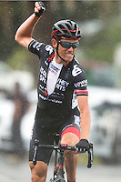 Tim Roe of IsoWhey Sports SwissWellness celebrates as he crosses the line to win during the NZ Cycle Classic stage one of the UCI Oceania Tour in Wairarapa, New Zealand on Sunday, 22 January 2017. Photo: Hagen Hopkins / lintottphoto.co.nz
