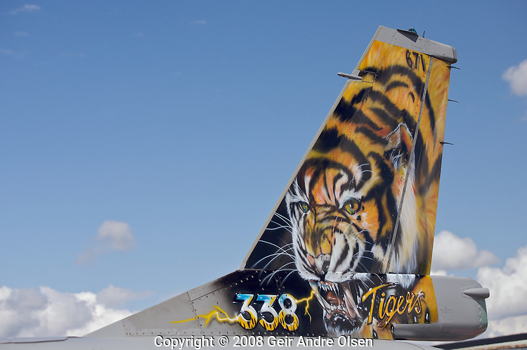 A tiger painted on the tail of a General Dynamics F-16 Fighting Falcon at Kjeller Airport in Norway