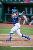 Kevin Lachance (5) of the Ogden Raptors bats against the Billings Mustangs at Lindquist Field on August 13, 2017 in Ogden, Utah. The Raptors defeated the Mustangs 6-5.  (Stephen Smith/Four Seam Images)
