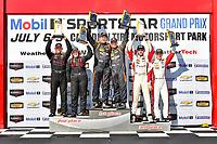 IMSA Continental Tire SportsCar Challenge<br /> Mobil 1 SportsCar Grand Prix<br /> Canadian Tire Motorsport Park<br /> Bowmanville, ON CAN<br /> Saturday 8 July 2017<br /> 56, Porsche, Porsche Cayman, ST, Jeff Mosing, Eric Foss, 44, Nissan, Altima, Sarah Cattaneo, Owen Trinkler, 37, MINI, MINI JCW, Mike LaMarra, James Vance, ST Podium, victory lane<br /> World Copyright: Scott R LePage/LAT Images