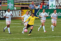St Louis Athletica goalkeeper Hope Solo (1) kicks the ball downfield during a WPS match at Anheuser-Busch Soccer Park, in St. Louis, MO, June 7, 2009. Athletica won the match 1-0.