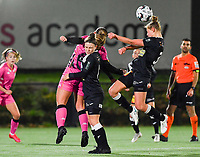 duel pictured between Megane Vos (20 Charleroi) , Aalst's Lieselot De Kegel and Aalst's Margaux Van Ackere during a female soccer game between Sporting Charleroi and Eendracht Aalst on the 8th  matchday of the 2020 - 2021 season of Belgian Scooore Womens Super League , friday 20 th of November 2020  in Marcinelle , Belgium . PHOTO SPORTPIX.BE | SPP | DAVID CATRY
