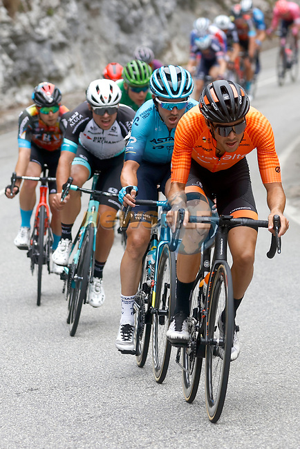 Frantic action from Stage 17 of La Vuelta d'Espana 2021, running 185.8km from Unquera to Lagos de Covadonga, Spain. 1st September 2021.    <br /> Picture: Luis Angel Gomez/Photogomezsport | Cyclefile<br /> <br /> All photos usage must carry mandatory copyright credit (© Cyclefile | Luis Angel Gomez/Photogomezsport)