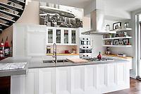 Contemporary white open plan kitchen