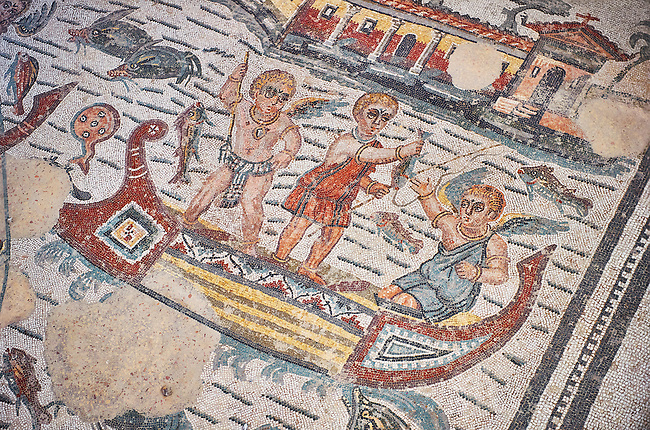 Close up detail picture of the Roman mosaics of the Room of Fishing Cupids depicting cupids fishing from boats using a harpoon and a rod and line, room no 24  at the Villa Romana del Casale, first quarter of the 4th century AD. Sicily, Italy. A UNESCO World Heritage Site.<br /> <br /> The Fishing cupids room was a dining room for guests of the Villa Romana del Casale. The mosaic floor represents a sea scene with four boats from which cupids are busy fishing. The mosaic depicts sea around the boats abounds with marine life. The mosaic show several Roman fishing techniques using nets, fishing lines, harpoon and fish traps.
