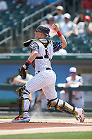 Charlotte Knights catcher Zack Collins (8) makes a throw to second base against the Durham Bulls at BB&T BallPark on May 27, 2019 in Charlotte, North Carolina. The Bulls defeated the Knights 10-0. (Brian Westerholt/Four Seam Images)