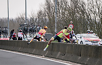 some riders got caught behind a traffic lane devider and were riding on a non-closed road > luckily the traffic was mild and they were able to 'jump' the concrete barier<br /> <br /> 45th Oxyclean Classic Brugge-De Panne 2021 (ME/1.UWT)<br /> 1 day race from Bruges to De Panne (204km)<br /> <br /> ©kramon
