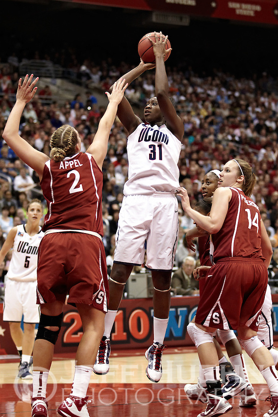 SAN ANTONIO, TX - APRIL 6, 2010: The 2010 NCAA Women's Final Four Championship Game featuring the Stanford University Cardinal vs. the University of Connecticut Huskies at the Alamodome. (Photo by Jeff Huehn)