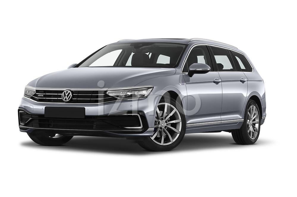 Stock pictures of low aggressive front three quarter view of 2020 Volkswagen Passat GTE 5 Door Wagon Low Aggressive