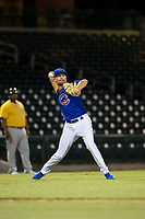 AZL Cubs relief pitcher Peyton Remy (54) throws a bunted ball to first base during a game against the AZL Athletics on August 9, 2017 at Sloan Park in Mesa, Arizona. AZL Athletics defeated the AZL Cubs 7-2. (Zachary Lucy/Four Seam Images)