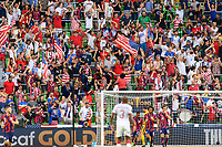 AUSTIN, TX - JULY 29: USA Supporters Group during a game between Qatar and USMNT at Q2 Stadium on July 29, 2021 in Austin, Texas.