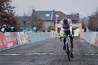 CX world champion Mathieu Van der Poel (NED/Alpecin-Fenix) crossing the finish line 2nd<br /> <br /> 2020 Superprestige Gavere (BEL)<br /> <br /> ©kramon