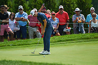 4th July 2021, Detroit, MI, USA;  Joaquin Niemann (CHL) watches his birdie putt on 2 during the Rocket Mortgage Classic Rd4 at Detroit Golf Club on July 4,