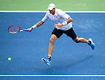 John Isner (USA) falls to Andy Murray (GBR) in a tight three set match at the Western & Southern Open by 67(3) 64 76(2) in Mason, OH on August 14, 2014.