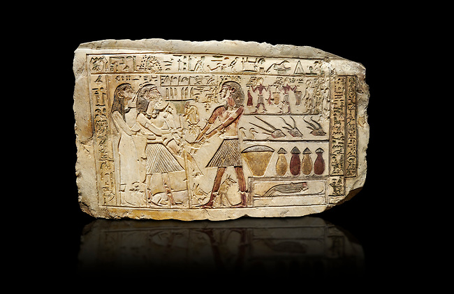 Ancient Egyptian stele showing Iti & Neferu receiving food offerings, First Intermediate Period, (2118-1980 BC), Gebelein, Tomb of Iti & Neferu,  Egyptian Museum, Turin. black background.  Schiaparelli cat 13114.