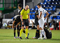 LAKE BUENA VISTA, FL - JULY 18: The referee Allen Chapman sprays the mark for a free kick while Daniel Steres #5 of LA Galaxy watches during a game between Los Angeles Galaxy and Los Angeles FC at ESPN Wide World of Sports on July 18, 2020 in Lake Buena Vista, Florida.