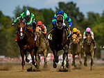 SARATOGA SPRINGS, NY - AUGUST 26: By The Moon #4, ridden by Rajiv Maragh defeats Highway Star #7, ridden by AS Arroyo to win the Ballerina Stakes at Saratoga Race Course on August 26, 2017 in Saratoga Springs, New York.(Photo by Alex Evers/Eclipse Sportswire/Getty Images)