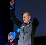 Prince George, B.-C., 16 February/2019 -  Mark Arendz receives his silver medal for finishing second in the men's middle distance standing biathlon during the Medal ceremony  at the 2019 World Para Nordic skiing Championships in Prince George, B.C. Photo Bob Frid/Canadian Paralympic Committee.
