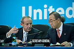 Secretary General Mr. Ban Ki-Moon and Executive Secretary Yvo de Boer converse during the opening of the High Level Segment at the United Nations Climate Change Conference. UNFCCC COP 14 (©Robert vanWaarden ALL RIGHTS RESERVED)