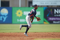 Rome Braves third baseman Darling Florentino (13) makes a throw to first base against the Kannapolis Intimidators at Kannapolis Intimidators Stadium on April 7, 2019 in Kannapolis, North Carolina. The Intimidators defeated the Braves 2-1. (Brian Westerholt/Four Seam Images)