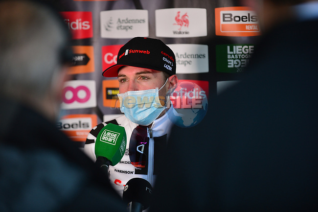 Marc Hirschi (SUI) Team Sunweb promoted to 2nd place at the end of Liege-Bastogne-Liege 2020, running 257km from Liege to Liege, Belgium. 4th October 2020.<br /> Picture: ASO/Gautier Demouveaux | Cyclefile<br /> All photos usage must carry mandatory copyright credit (© Cyclefile | ASO/Gautier Demouveaux)