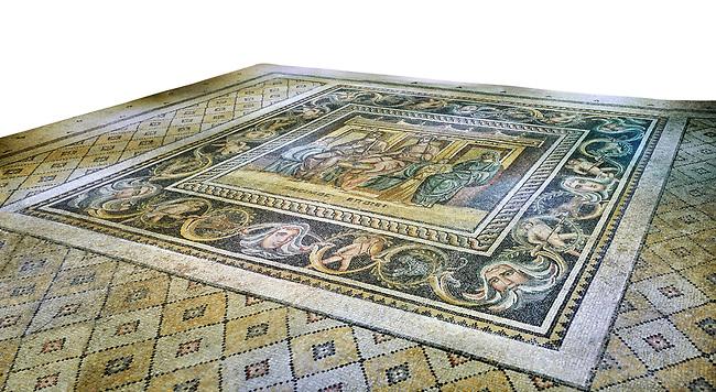 Roman mosaics - Women At Breakfast Mosaic. Zosimos Villa, Ancient Zeugama, 2nd - 3rd century AD . Zeugma Mosaic Museum, Gaziantep, Turkey.   Against a white background.
