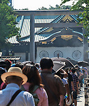 People visit for their respects and gratitude for to the war dead of World War II at the Yasukuni Shrine in Tokyo, Japan on August 15, 2020. (Photo by AFLO)