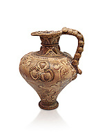 The Minoan decorated ritual Ewer From Poros with marine reliefs ,Poros Heraklion 1450 BC; Heraklion Archaeological  Museum, white background<br /> <br /> This elegant Ewer excavated from Poros is a fine example of the matute marine style of Minoan Ewer. The body is covered with  calligraphic network of dotted scale patterns, indicating the sea, in which nautili swim amongst rocks and seaweed. This style of Ewer was made in specialist workshops in the Knossos area and can be attributed to the same worksop that made ewers excavated from Zakros room IV-V. and another in Marseilles Museum