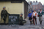 Belfast The Troubles 1980s. Islandbawn Street, Falls Road Belfast British soldiers.( The soldier on the left is Lieutenant Don Smallwood 4 plantoon commander of the 3rd batallian Royal Regiment of Fusiliers and  Fusilier Eddie Edwards  )