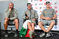 17th March 2021; Waitemata Harbour, Auckland, New Zealand;  Max Sirena, Francesco Bruni and Jimmy Spithill of Luna Rossa Prada Pirelli.<br />