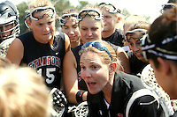 20 June 2006: Head coach Michelle Uhlfelder talks with Rachel Dyke and the team during Stanford's 17-9 loss to Northwestern in the first round of the 2006 NCAA Lacrosse Championships in Evanston, IL. Stanford made it to the NCAA's for the first time in school history.