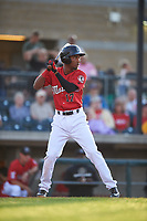 Billings Mustangs Reyny Reyes (17) at bat during a Pioneer League game against the Grand Junction Rockies at Dehler Park on August 15, 2019 in Billings, Montana. Billings defeated Grand Junction 11-2. (Zachary Lucy/Four Seam Images)