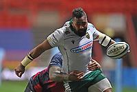 8th September 2020; Ashton Gate Stadium, Bristol, England; Premiership Rugby Union, Bristol Bears versus Northampton Saints; Taqele Naiyaravoro of Northampton Saints is tackled by Nathan Hughes of Bristol Bears
