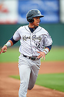 Kane County Cougars right fielder Luis Veras (14) during the first game of a doubleheader against the Cedar Rapids Kernels on May 10, 2016 at Perfect Game Field in Cedar Rapids, Iowa.  Kane County defeated Cedar Rapids 2-0.  (Mike Janes/Four Seam Images)