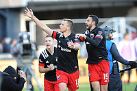 WASHINGTON, DC - MARCH 07: Frederic Brilliant #13 of D.C. United celebrates his score with teammates Steven Birnbaum #15 and Russell Canouse #4 during a game between Inter Miami CF and D.C. United at Audi Field on March 07, 2020 in Washington, DC.