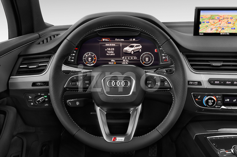 Car pictures of steering wheel view of a 2016 Audi Q7 S Line 5 Door Suv Steering Wheel