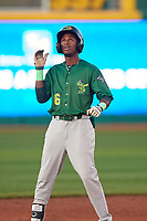 Beloit Snappers Marcos Brito (6) celebrates after hitting a double during a Midwest League game against the Lansing Lugnuts at Cooley Law School Stadium on May 4, 2019 in Lansing, Michigan. Beloit defeated Lansing 2-1. (Zachary Lucy/Four Seam Images)
